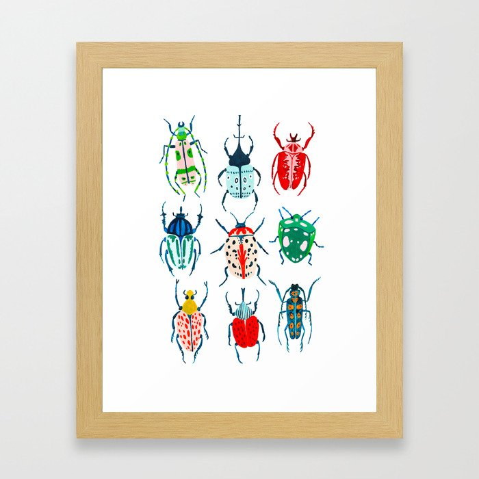 Garden Beetles Framed Art Print