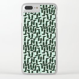 Hunter Green Wellington Welly Boots with Bluebell Flowers on Pastel Aqua Streaky Stripes Clear iPhone Case