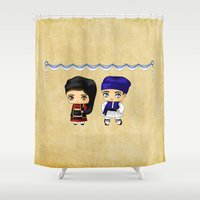 greek Shower Curtains featuring Greek Chibis by artwaste