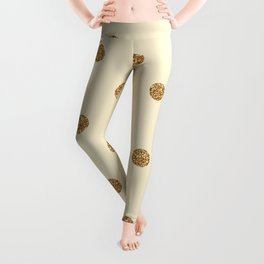 Blanched Almond Gold Glitter Dot Pattern Leggings