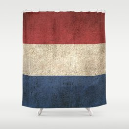 Old and Worn Distressed Vintage Flag of The Netherlands Shower Curtain