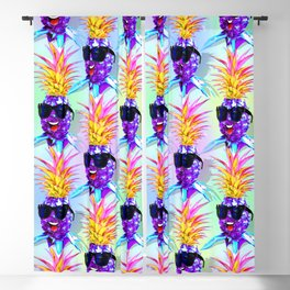 Pineapple Ultraviolet Happy Dude with Sunglasses Blackout Curtain