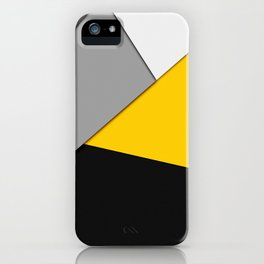 Simple Modern Gray Yellow and Black Geometric iPhone Case
