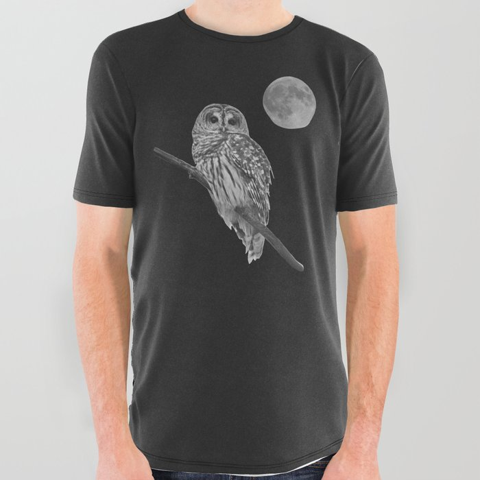 Owl, See the Moon (bw) All Over Graphic Tee