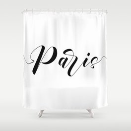 """ Travel Collection "" - Paris Typography Shower Curtain"
