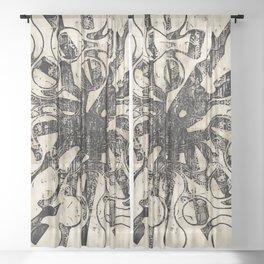 Vintage Tear Drop Abstract Sheer Curtain