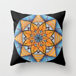 Sapphire-Gold Mandala (on black) Throw Pillow