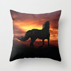 Horse kissed by the wind at sunset Throw Pillow