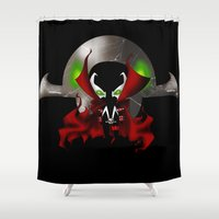 spawn Shower Curtains featuring Chibi Spawn by artwaste