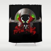 spawn Shower Curtains featuring Chibi Spawn by artwaste