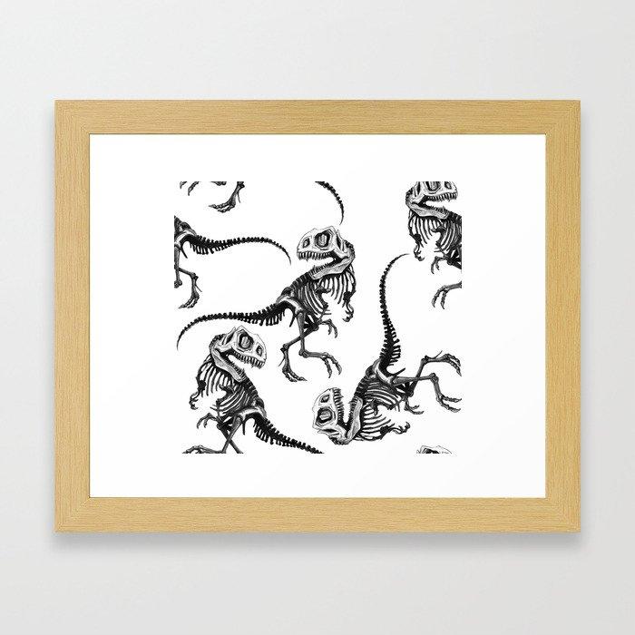 T-Rex Dinosaur Skeleton Print Framed Art Print