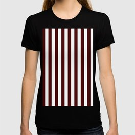 Narrow Vertical Stripes - White and Bulgarian Rose Red T-shirt