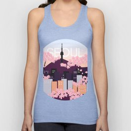 Seoul Tower with Cherry Blossoms Woodblock Style Souvenir Print Unisex Tank Top