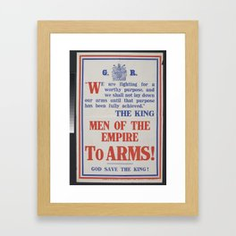 Poster, 'We are fighting for a worthy purpose', November 1914, United Kingdom, by Parliamentary Recr Framed Art Print