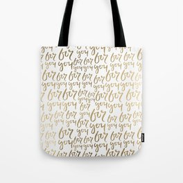 Modern faux gold white minimalist for you typography Tote Bag