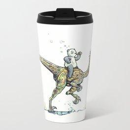 Drunk Panda riding Velocirraptor Travel Mug