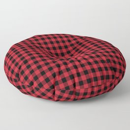 Winter red and black plaid christmas gifts minimal pattern plaids checked Floor Pillow