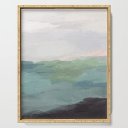 Seafoam Green Mint Black Blush Pink Abstract Nature Land Art Painting Art Print II Serving Tray