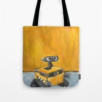 rothko Tote Bags featuring Wall-E and Rothko by Renee Bolinger