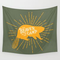 beaver Wall Tapestries featuring Beaver Camp: Face Your Fears by Mother Goosebumps