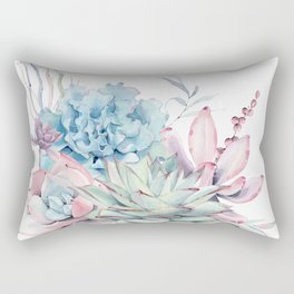 Pretty Pastel Succulents Rectangular Pillow