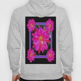Decorative Black Fuchsia Purple Orchid Cactus Flower, Hoody