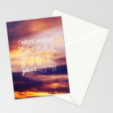 He will give you the desires of your heart.  Stationery Cards