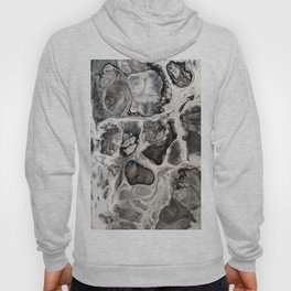 "Black, Silver and White Fluid Painting - ""Obsidian"" Rock Hoody"