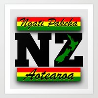 new zealand Art Prints featuring New Zealand  by mailboxdisco