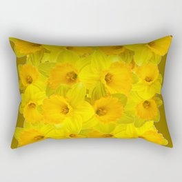 Olive Colored Golden Daffodile Floral Abundance Rectangular Pillow
