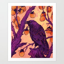 Raven and Persimmons Art Print