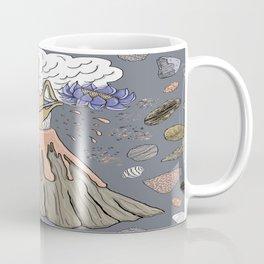 volcano with a hand, lotus flower and rocks Coffee Mug