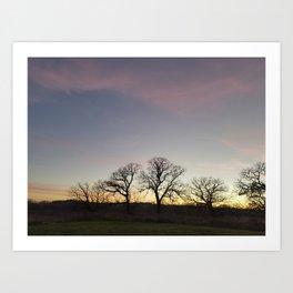Autumn Sunset Silhouette - Pheasant Branch Conservancy Art Print
