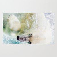 polar bear Area & Throw Rugs featuring Polar Bear by Pati Designs & Photography