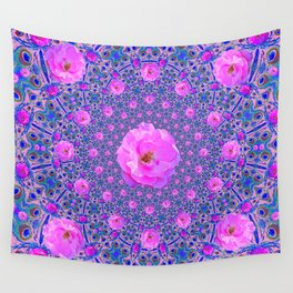 ORNATE THOUSANDS PINK ROSES & BLUE  ABSTRACT Wall Tapestry