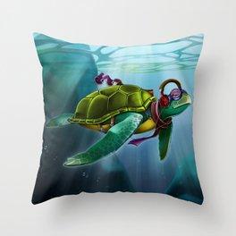 Turtleneanding Throw Pillow