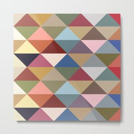 Mid Century Modern Colorful Triangles Metal Print