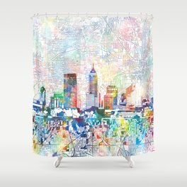 indianapolis city skyline watercolor 7 Shower Curtain