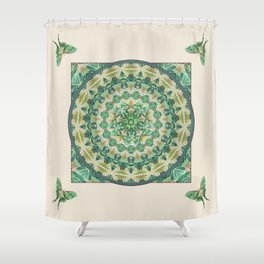 Luna Moth Meditation Mandala Shower Curtain