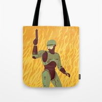 robocop Tote Bags featuring Robocop by James White
