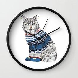 Christmas Lynx // Festive Furries No.1 Wall Clock