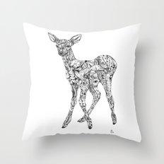 Leafy Deer Throw Pillow
