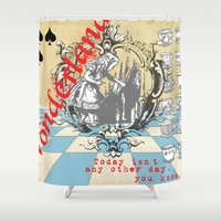 alice in wonderland Shower Curtains featuring Wonderland by TooShai Studios