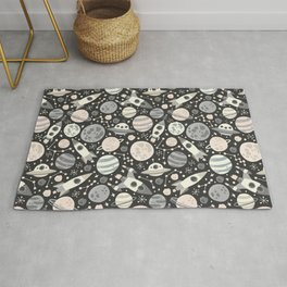 Space Black & White Rug
