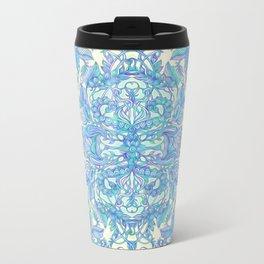 Lilac, Mint & Aqua Art Nouveau Pattern Metal Travel Mug