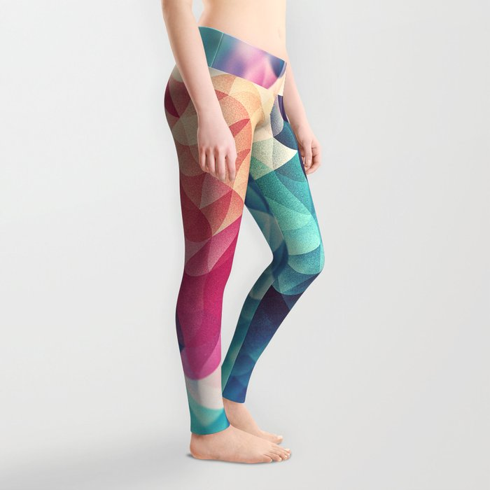 Geometry Triangle Wave Multicolor Mosaic Pattern - (HDR - Low Poly Art) Leggings