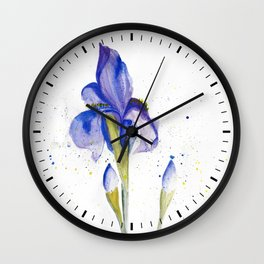 Watercolor Iris Wall Clock