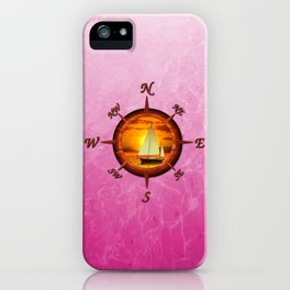Sailboat And Compass Rose Pink iPhone Case