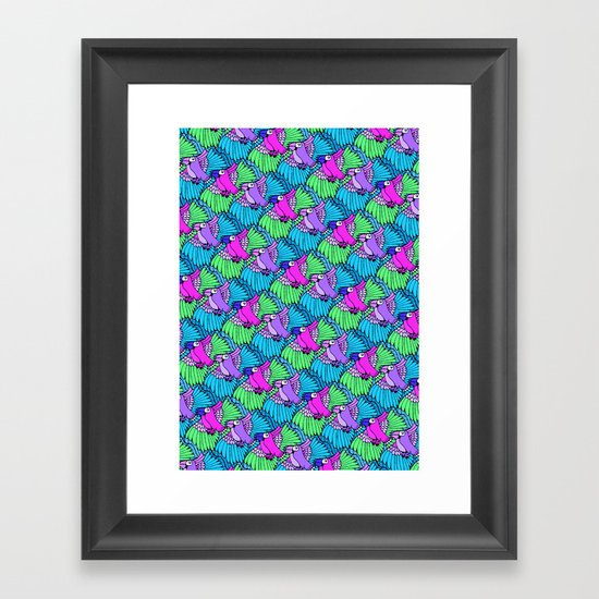 Tessellated Parrots Pink Framed Art Print