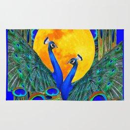 FULL GOLDEN MOON BLUE PEACOCK  FANTASY ART Rug